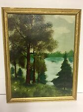 Small Antique Oil Painting Fishing Boat On Northern Woods Lake Antique Fr.