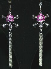 Long Pink Rhinestone SKULL GOTHIC Goth Emo CHAIN TRIBAL Belly Dancing Earrings