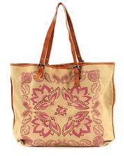 ESPRIT Cherry Shopper Tasche Schultertasche Damen Beige Baumwolle Neu