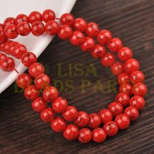 New 100pcs 6mm Round Black Stripes Charm Loose Spacer Glass Beads Red