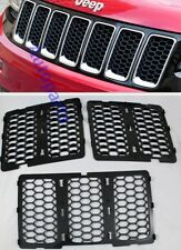Black Front Mesh Grille hole honeycomb trim for Jeep Grand Cherokee 2014 2015