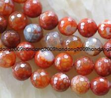 "Natural 10mm Faceted Orange Crab Agate Round Beads 15"" AAA"
