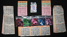 Play at home bingo paper chips calling cards kit no balls needed 3 on's 1 on's