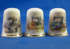 FINE PORCELAIN CHINA THIMBLES - SET OF THREE SEWING TABLES