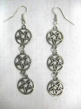 NEW CUSTOM SATANIC OCCULT PENTAGRAM STAR 3 CHARMS CHAIN LINK DANGLING EARRINGS