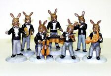 ROYAL DOULTON BUNNYKINS SET OF 7 PLATINUM AND BLACK COLOURWAY ORCHESTRA FIGURES