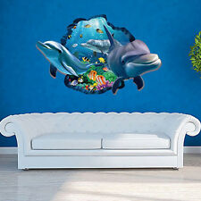 3D Dolphins Blue Sea World Wall Sticker Home Mural Vinyl Decal Bathroom Decor