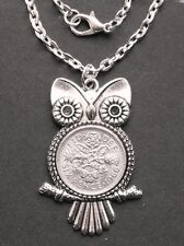 "1966 Lucky Sixpence Owl Pendant 18"" Necklace 50th Birthday Wedding Anniversary"