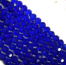 """Blue Transparent 4mm Faceted Round Beads 13"""" Strand Glass Crystal Beads"""