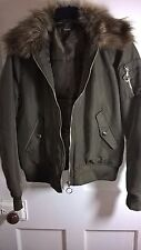 Size UK 12  - H&M Ladies Khaki Satin Bomber Jacket, det fur collar Size US 8..