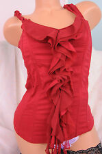 LAUREN U Red Cotton Ruffle Boned Bustier Corset Top Sz M