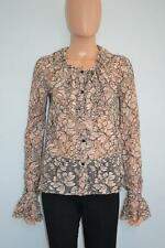 Chanel Beige/Black Floral Lace Ruffle Long Sleeve Blouse/Top Size 38