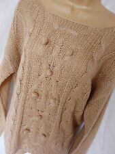 BNWT NEXT ladies peach cream bobble cable knit winter jumper size M 14/16