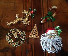 Rare! Vintage Lot Christmas Brooches Pins Lotto Spille di Natale (lot 6)