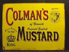 "COLMAN'S MUSTARD & BULL VINTAGE STYLE STEEL WALL SIGN  12"" X 8"""