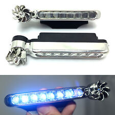 Wind Power Car Grille Blue LED DRL Daytime Running Light Fog Warning Head Lamp