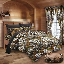 WHITE CAMO KING COMFORTER 7 PC BLACK SHEET SET QUEEN SIZE CAMOUFLAGE HUNTING