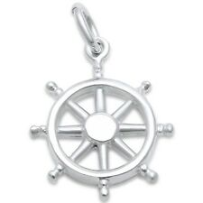 Plain Boat Steering Wheel Nautical .925 Sterling Silver Charm Pendant