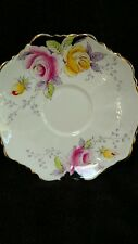 Paragon China Saucer- Pattern X 2714. Yellow and Pink Roses While/ Black Backgro