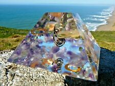 MOONSTONE and AMETHYST Positive Energy Orgone Mayan Pyramid with Quartz and Gold