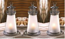 "3 silver white 10"" tall Candle holder lighthouse lantern statue patio light"