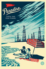 PARADISE TURNS large 24 x 36 SIGNED offset print obey giant shepard fairey
