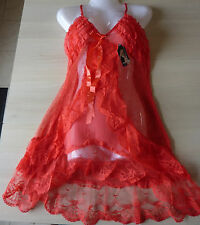 Nuisette femme sexy rouge saumon string Taille M/L (40) neuf