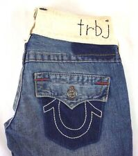 True Religion Women's Boot Cut White Waistband Flare Jeans Size 28 x 31 [P5248]