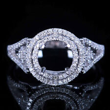 SOLID 14K WHITE GOLD NOBBY 7MM ROUND NATURAL DIAMOND SEMI MOUNT ENGAGEMENT RING