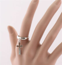 Hot New Silver Or Gold Plated Cross Dangle Charm Finger Ring Size 6