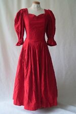 Vintage German Red xmas victorian puff sleeve costume dress Size 10