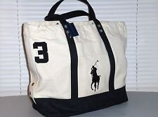 POLO RALPH LAUREN Canvas Big Pony Tote Bag, Beach, Travel, Carry, NATURAL, BLACK