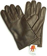 HERREN LEDER HANDSCHUHE RSL Fingerhandschuhe Winter warm Fleece Futter Braun