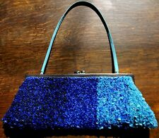Santi full beaded evening clutch, sm wedding purse, blue ombre sequined prom bag