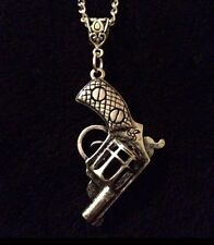 "The Walking Dead Gun Necklace 30"" Chain Rick Grimes Revolver Dirty Pendant *UK**"