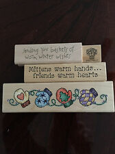 "Darcie's * Stampin Up! * LOT Rubber Stamps ""Mittens Warm Hands"" WINTER NEW"