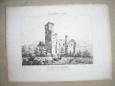 Lithographie du Chateau de Thermes Mirande Gers La Guienne monumentale 1844