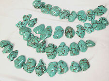 22-35mm Blue Turquoise Freeform Slab/Nugget Top Side Drilled Beads 10pcs Strand