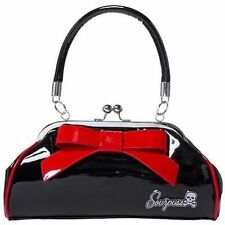 Sourpuss Floozy Black Red Lining Bow Punk Goth Tattoo 50S Retro Handbag