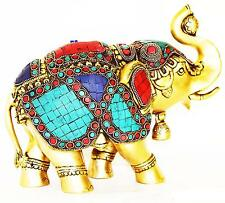 Elephant Statue Elegant Lucky Wealth Figurine Gift & Home Decor Brass Stonework