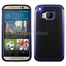 Hybrid Rugged Rubber Matte Hard Case Cover Skin for Android HTC One M9 Blue