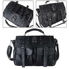 Lady Pu Leather Women's Bag Punk Skull Rivet Shoulder Handbag School Satchel 02f