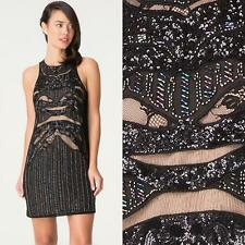 BEBE BLACK BEADED LACE SEQUIN SHIFT DRESS NWT NEW $189 XSMALL XS