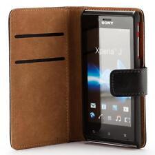 Sony xperia J ST26i handy tasche schwarz case brieftasche wallet schutz hülle