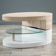 Modern Design White Gloss, Wood Oval Swivel Rotating Coffee Table w/ Glass