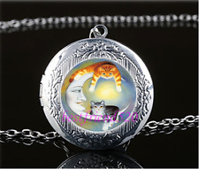 Cat With Moon Cabochon Glass Tibet Silver Chain Locket Pendant Necklace#N22