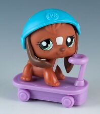 Littlest Pet Shop Beagle #1738 Brown with Green Eyes Plus Scooter & Helmet