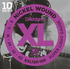 10 sets D'Addario EXL120 Super Light Gauge Electric Guitar Strings ProPack