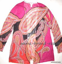CHICO'S Womens 2 = 12 Hot Pink Orange PAISLEY Cardigan Open Front Sweater CHICOS