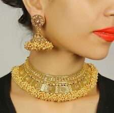 2318 Bollywood Indian Goldtone Ethnic Bridal Polki Necklace Earrings Set Jewelry